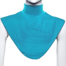 Modal Moslem Hijab Islamic Turtleneck Neck Cover Collar Fake collar Shirt Cover Muslim Wear Blue - intl