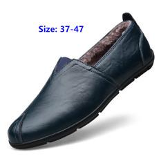 Mode Pria Kulit Asli Sepatu Doug Sepatu Kasual Driving Sepatu Fashion Men's Genuine Leather Shoes Doug Shoes Casual Driving Shoes Black