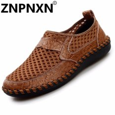 Mode the man ZNPNXN renda up/loafers and Chemicals differences kain tule kulit serta (Coklat)