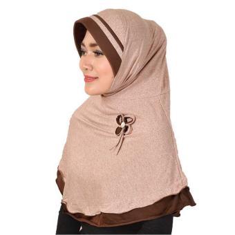 Montaza Hijab Jilbab Instan Coklat Kerudung Geblus Pashmina HDN866 .