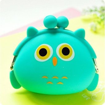 Moonar Cute Animal Patterns Silicone Coin Bag Change Money Wallet (Green Owl) - intl