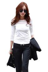 Moonar Lace Mesh Long Sleeve Slim T-Shirts White