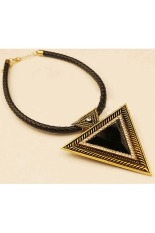 Moonar Vintage Triangle Necklace Rhinestones Leather Chain Pendant Necklace-Bronze