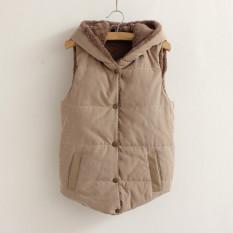 Moonar Women Winter Sleeveless Vest Thickened Jacket Warm Coat Khaki (Intl)