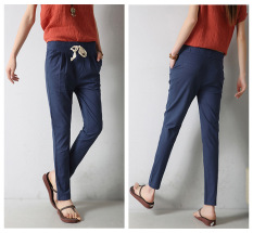 Ms Han Edition New Trousers Cultivate One's Morality Show Thin Casual Pants New Elastic Waist Dress Trousers (Navy) - Intl