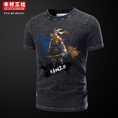Mucunsanshe Musim Panas Menonton Permainan Lengan Pendek T-shirt (Hitam-Hanzo) (Hitam-Hanzo)