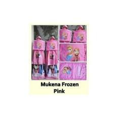 Mukena Anak Perempuan Cewe Frozen Pink Biru Bahan Katun Adem