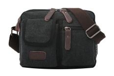 Multi Pocket Cross Body Shoulder Bag Men Canvas Bag-Black - Intl