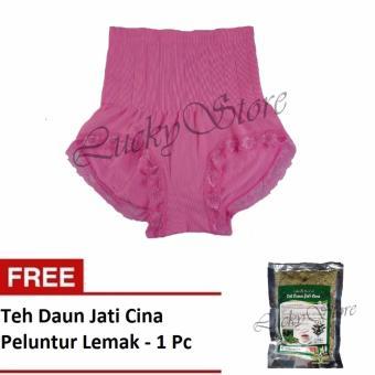 Munafie Slim Pant Celana Korset - Celana Pelangsing Tubuh - Pink - Free Teh Daun Jati