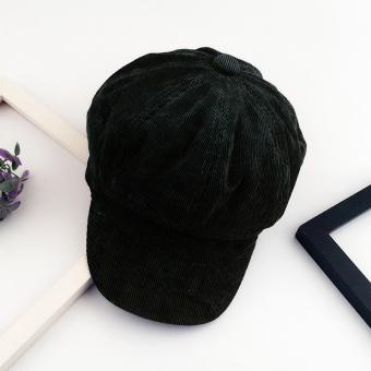 Musim Gugur Dan Musim Dingin Sastra Kain Korduroi Warna Solid Segi Delapan Topi Topi Baret (