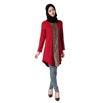 Muslim Women long shirt Arab girls wear Blouse special for Ramadan(red) - INTL