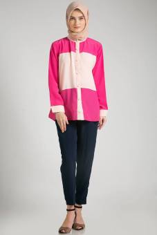 Musoffia Atasan Kemeja Blouse Fariha Two Tone Top - Pink Fuschia