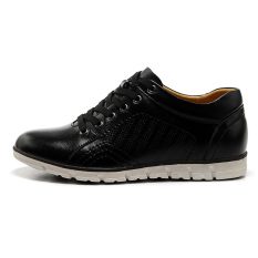 MX0928 Genuine Leather Height Increasing Elevator Oxfords Men's Fashion Business Flat Shoes Elevated 5cm Color Black - Intl