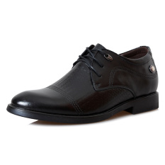 MX166 Genuine Leather Height Increasing Elevator Casual Derbies Men's Business Shoes Elevated 6.5cm Color Black - Intl
