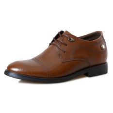 MX166 Genuine Leather Height Increasing Elevator Casual Derbies Men's Business Shoes Elevated 6.5cm Color Brown (Intl)
