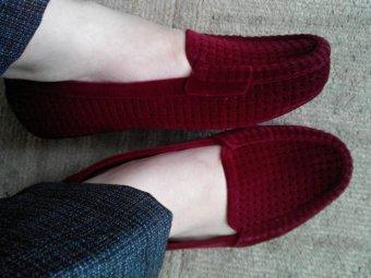 Myanka Jelly Shoes Flat Beludru (Maroon)
