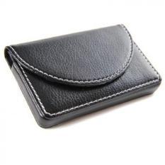 Nama perusahaan kulit pria dompet pemegang kartu dengan Magnetic tutup hitam - International