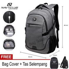 Navy Club Tas Ransel Laptop Backpack built in USB Charger Up to 15 inch 62061 - Abu (Free Bag Cover + Free Tas Selempang)