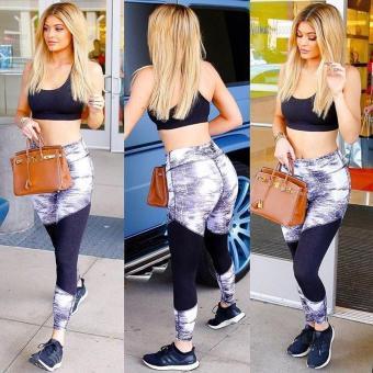 New 2017 Fashion Print Patchwork Gym Women Yoga Sport Running Pants Fitness Leggings Slim Trouser Push