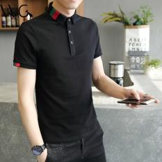 New 2017 Men's Brand Polo Shirt For Men Designer Polos Men Cotton Short Sleeve Shirt Leisure Jerseys Solid Polo Shirts (Black) - Intl