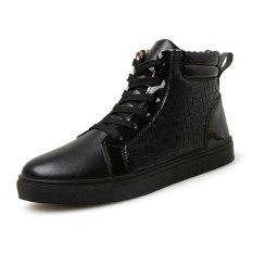 New Arrive Massage Shoes Men Lace Up High Top Boots Increasing Casual Shoes Man (Black)
