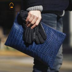 New European Crocodile Grain Clutch File Handbag Unisex Hand Caught Old School Briefcase Messenger Bag Big Small Clutch -Black Big Size