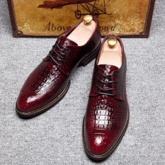 New Fashion British Style Brand Classic Men's Crocodile Lines Shoes Mens Dress Business Shoes Leather Shoes-red - Intl