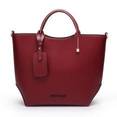 New Fashion Handbag Red Pu Leather Tote Bag Vintage Women Bucket Bag Designer Hanbags High Quality Portable Women Bag - Intl