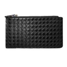 New Fashion Men Wallet Woven PU Leather Zipper Multiple Card Holder Foldable Long Purse Wallet (Intl)