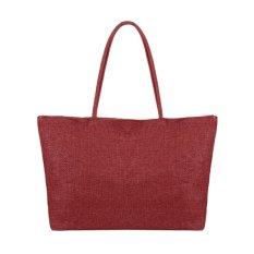 New Fashion Women Casual Tote Straw Pure Color Shoulder Bag Single Deck Zipper Closure Big Casual Beach Handbag (EXPORT)