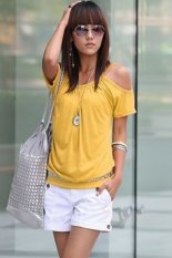 New Fashion Women Sexy Casual Round Neck Off Shoulder Short Sleeve Solid T-Shirt-yellow-M (EXPORT)