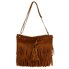 New Fashion Women's Faux Suede Fringe Tassels Cross-body Bag Shoulder Bag Handbags (Brown) - Intl