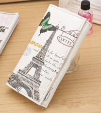 New Fasshion Womens Wallet Ladys Long Wallet 2 Folding Wallet Clutch Card Holder Printing Design Wallet Purse Handbag Color-style:Beige - Butterfly Tower Pattern B094