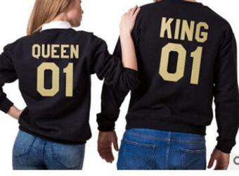 677df45118 New Hot Valentine Shirts Woman Cotton King Queen 01 Funny Letter Print  Couples Casual T shirt