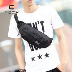 New Korean Chest Bag Fashion Men Waist Bag Men's Handbag Canvas Waist Bag Cool Outdoors Sports Leisure Bag -Black