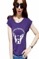 New Lady Women's Fashion Short Sleeve O-Neck Casual Loose Letter Print Graphic Tees T-Shirt (Purple)