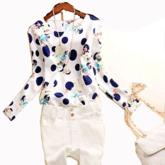 New Lady Women's Polka Dot Floral Printed O-Neck Long Sleeve Roll-up Cuffs Tops Blouses (EXPORT)