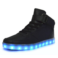 New Lovers LED Couples Mens Women's Light Up Trainer Lace Up Flat Shoes Sneakers Black (Intl)