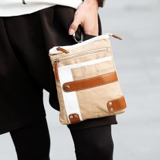 New Men Korean Single Shoulder Crossbody Bag Canvas Men Waist Bag Chest Bag Leisure Small Bag Phone Bag -Khaki