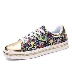 New Men Shoes Casual Shoes Flats Fashion Men Breathable Shoes Sneakers (Golden)
