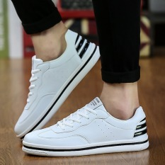 New Men Shoes Flat Shoes Trend Casual Fashion Breathable Sport Shoes (White / Black)