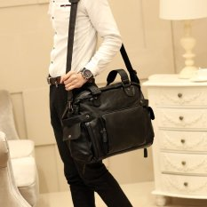 New Men Single Shoulder Bag Crossbody Bag Portable Bag Korean Men's Handbag Leisure Men's Handbag Big Bag Travel Bag Cool -Black Big Size