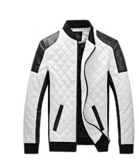 New Men's Jackets Casual Collar Stitching Leather Jacket Coat White