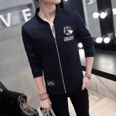 New Men's Korean Slim Baseball Jacket (Navy Blue) - Intl