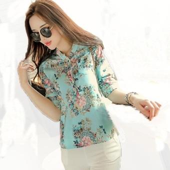 New perempuan panjang leher V lengan baju blus Flower print puncak