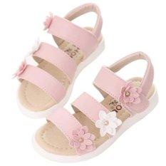 New sandal bunga-bunga panas musim Girl mode her dansa Princess (Berwarna Merah muda)