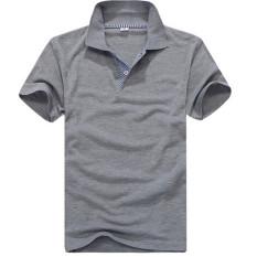 New Style Men's Simple Fashion Short Sleeve Cotton Polo Shirts Slim Fit Polo Shirt Size S-XXL (Dark Grey) - Intl