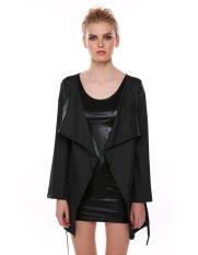 New Stylish Women Ladies Fashion Design Belted Long Sleeve Coat Jacket-black-M
