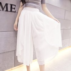 New Summer Thin Chiffon Loose Type Wide Leg Pants Cropped Trousers (White)