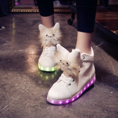 New Unisex LED Light Lace-Up USB Luminous Shoes High Top Shoes Snow Boots White - Intl